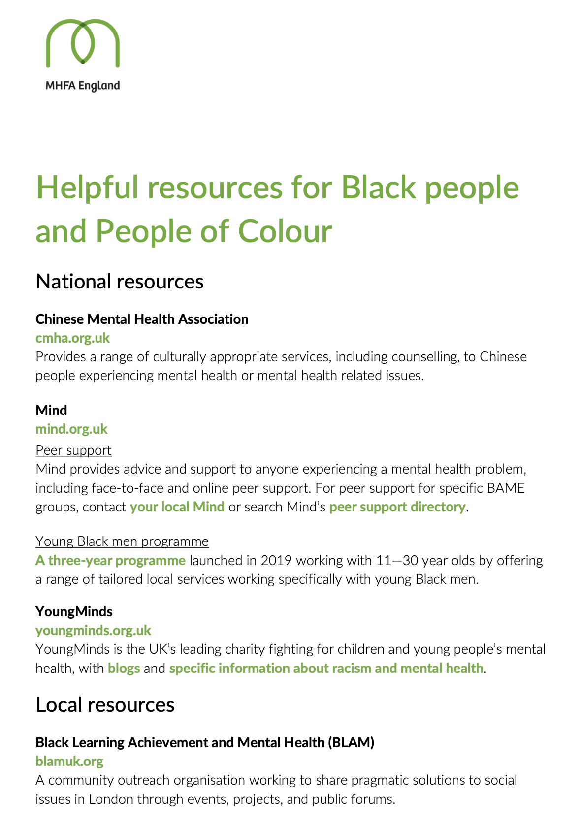 Helpful resources for Black people and People of Colour